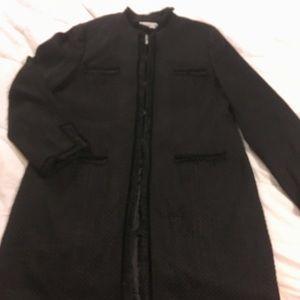 Black lined fall coat, hook and eye closure
